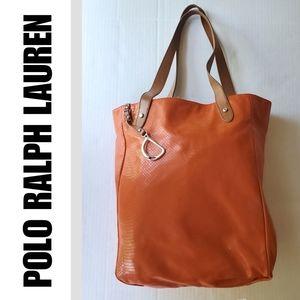 Ralph Lauren Large Orange Tote Bag Satchel